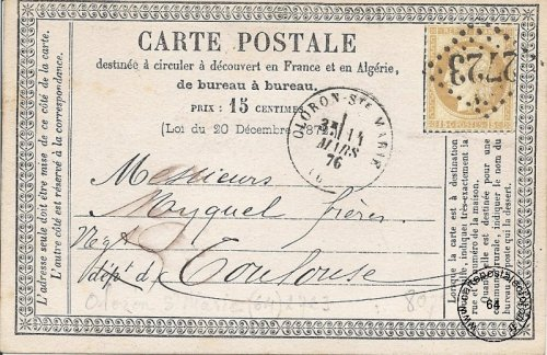 Carte postale de 1876 (recto)
